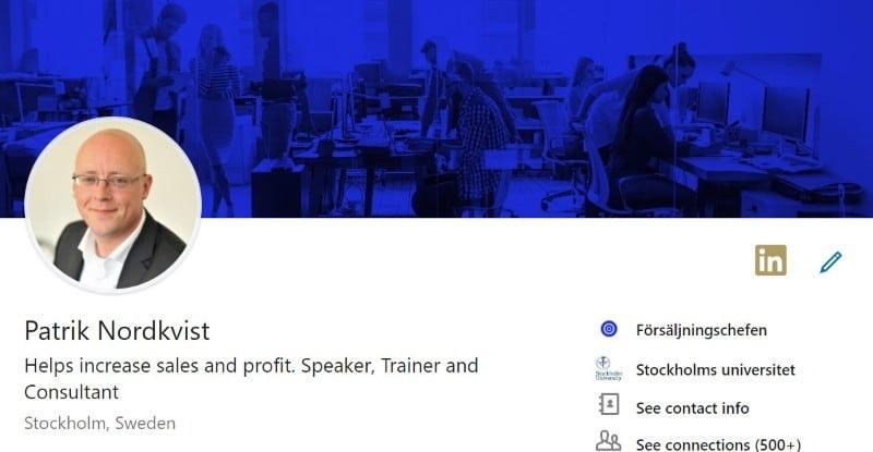LinkedIn Profil Patrik Nordkvist