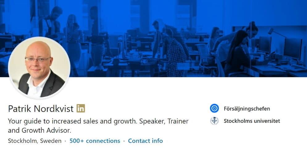 Patrik Nordkvist Profil LinkedIn Försäljningschefen